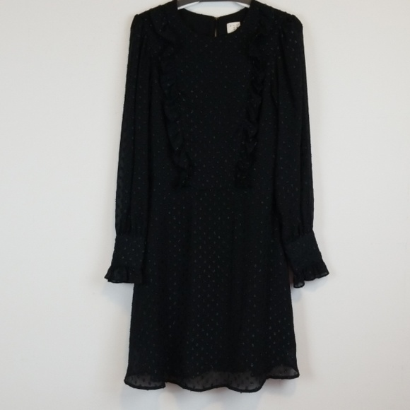 a new day Dresses & Skirts - A New Day black french dot ruffled dress size S
